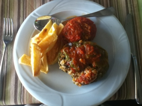 Gemista - a stuffed pepper and tomato dish in Greece