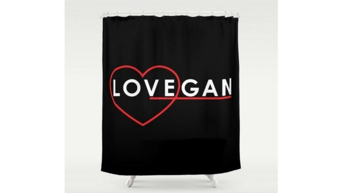 LoVegan shower curtain - Sam Turnbull from itdoesnttastelikechicken.com