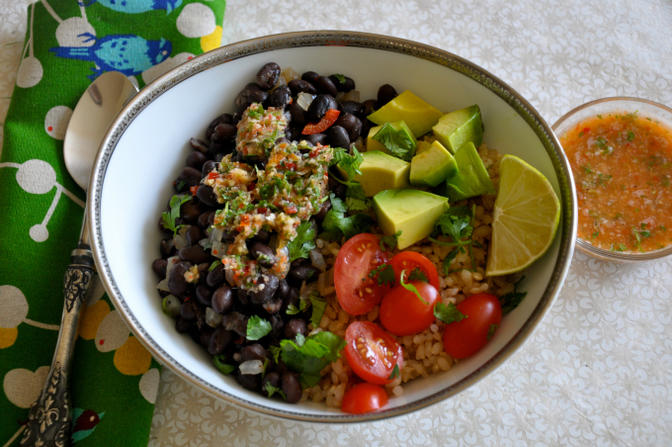 Brown Rice & Beans with Ginger Lime Chili Salsa by Ordinary Vegan