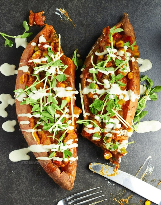Korma Stuffed Sweet Potatoes by Delightful Vegans