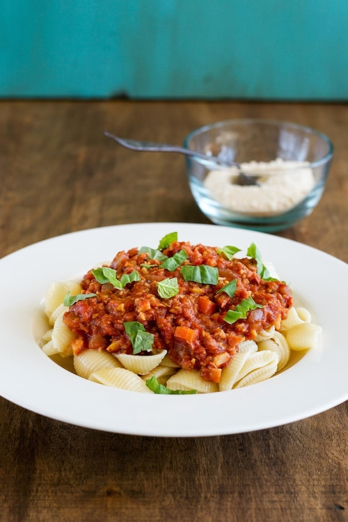 Pasta with Chickpea Meat Sauce - An Unrefined Vegan
