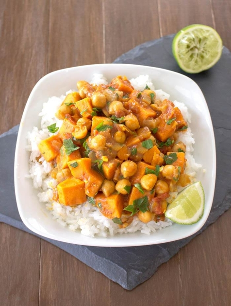 Coconut Curried Sweet Potato & Chickpea Stew by One Ingredient Chef