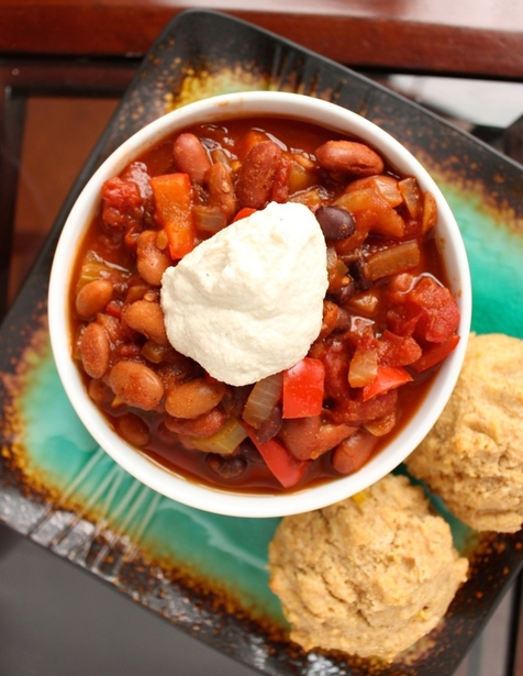 Three Bean Chili with Cashew Cream by The Conscientious Eater
