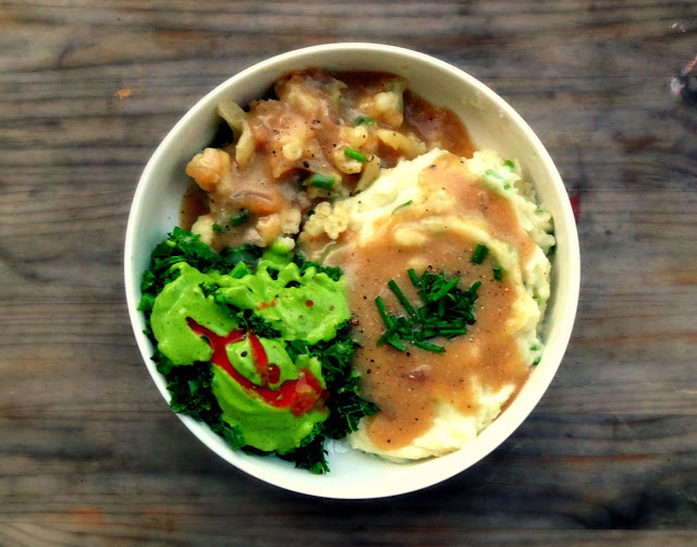 Vegan Chicken w/Mashed Potatoes & Gravy by Baking Backwards