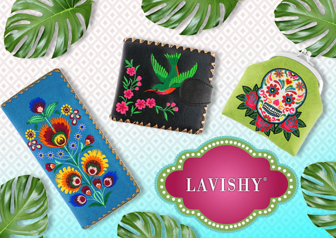 LAVISHY embroidered vegan leather wallets